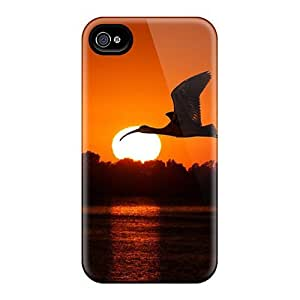 For Iphone 4/4s PC Phone Case Cover(bird Flying At Sunset)