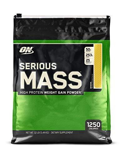 OPTIMUM NUTRITION Serious Mass Weight Gainer Protein Powder, Banana, 12 Pound -