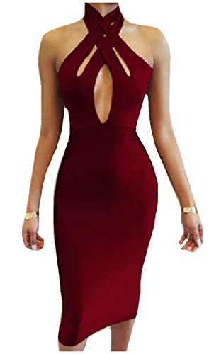 Coolred paule Femmes Rouge D Nu Robe Froide Funky Croix Sillonnent Dos es Vin Le coup XXqrxd