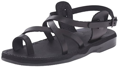 Jerusalem Sandals Women's The Good Shepherd Buckle Toe Ring Sandal, Black, 39 EU/8 M US