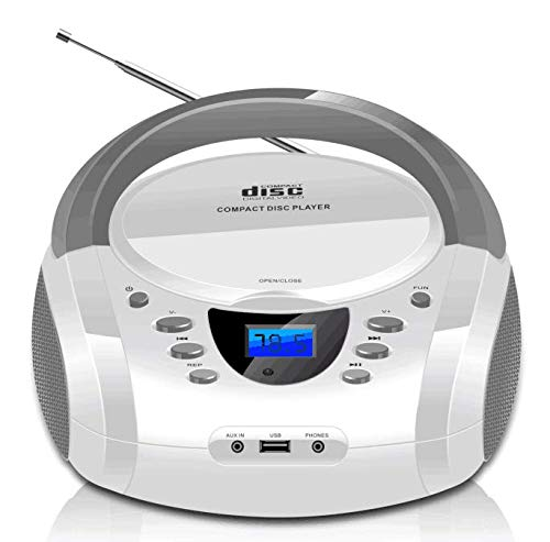 LONPOO Portable CD Boombox FM Radio/USB/Bluetooth/AUX Input and Earphone Jack Output with Stereo Sound Speaker Audio Player-White