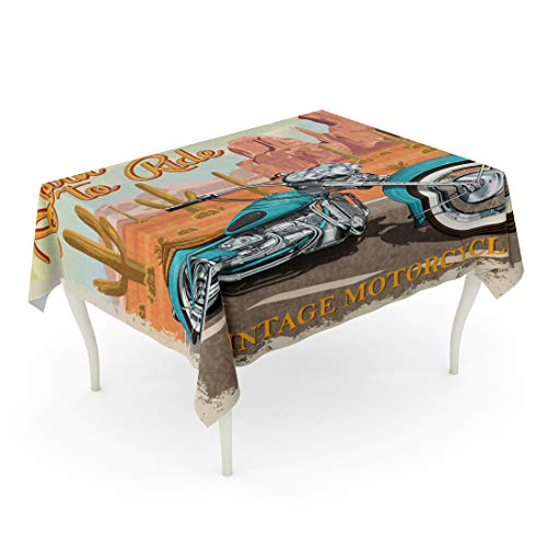 - Semtomn Decorative Tablecloth Waterproof Printed Polyester Oil-Proof Car Vintage Arizona Motorcycle Cactus Chopper Classic Garage Moto Retro Road Rectangle Table Cloth 60 x 102 Inch