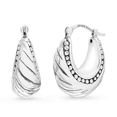 (WILLOWBIRD Puffy Shrimp Shell Beaded Textured Edged Hoop Earrings for Women in Oxidized 925 Sterling Silver)