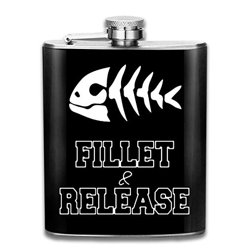 Fillet and Release Portable Hip Flask - 7oz Stainless Steel Flask Liquor and Funnel Bottle for Discrete Shot Drinking of Alcohol, Whiskey, Rum and Vodka | Gift for Men