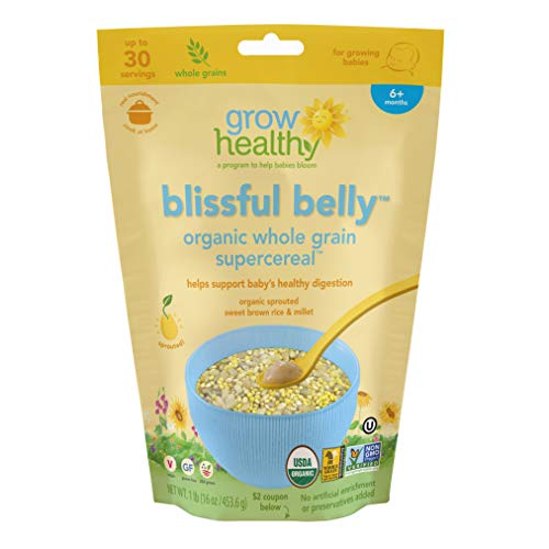 Blissful Belly Organic Whole Grain Supercereal   Helps support babys healthy digestion   Sprouted, Organic, Vegan, Gluten free, USA grown, No artificial enrichment or preservatives