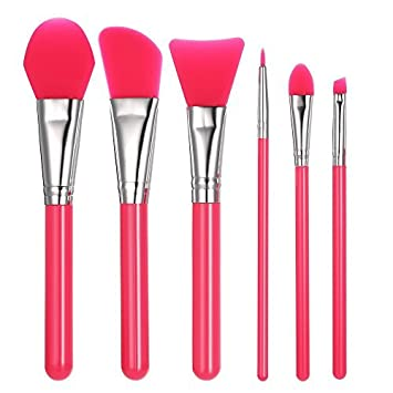Silicone Makeup Brush Set, Anself Facial Mask Foundation Brushes Cosmetic Eyeshadow Eyebrow Brush Kit With Plastic Handle Pack of 6 W4431GR-HMMFBA