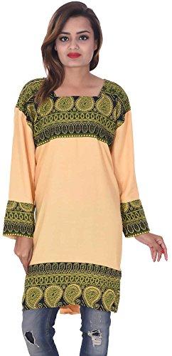 Indian-peach-Color-Top-Kurta-Women-Ethnic-Tunic-Kurti-plus-size-paisley-print-100-Cotton