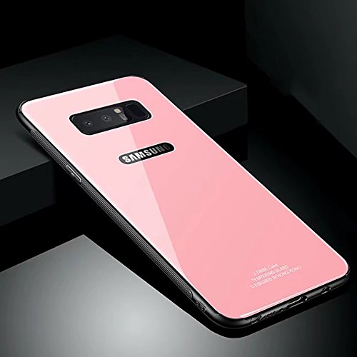Price comparison product image Hard Rigid Tempered Glass Back Cover for Samsung Galaxy Note 8, Aearl Pure Color Crystal Clear Rear Back Glass Plastic Interior TPU Bumper Case with Screen Protector for Samsung Galaxy Note 8 - Pink