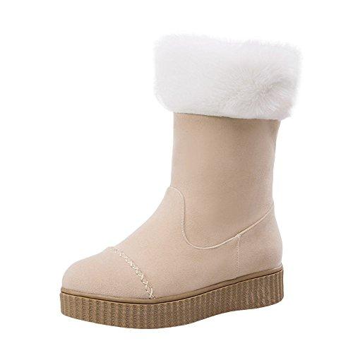Show Shine Womens Fur Lining Platform Dikke Hak Snowboots Beige