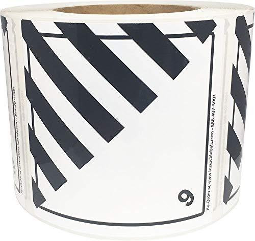 Hazard Class 9 D.O.T. Miscellaneous Dangerous Goods Labels 4x4 Inch Square 500 Adhesive Labels - Shipping Hazardous Labels