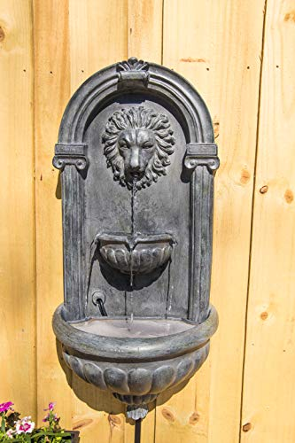 Kenroy Home 51043ZC Royal Wall Fountain with Light, 35 Inch Height, Zinc Finish