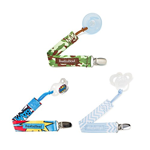 orn PaciGrip Pacifier Clip, Holder, Toy, Teether, Soothie, Universal Loop Boy, Camo, Camouflage, Baby Blue, BAM! Blue 3 Pack ()