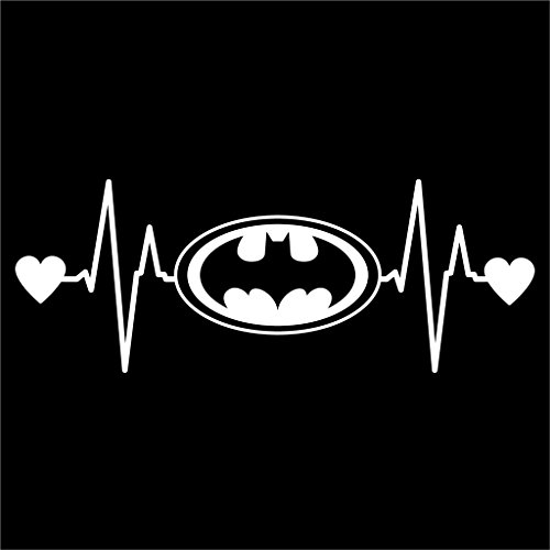 Batman Bat Signal Heartbeat Vinyl Decal Sticker | Cars Trucks Vans Walls Laptops Cups | White | 7.5 X 2.8 Inch | (Animated Heart Beat)