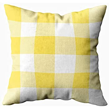 Musesh Rustic Yellow and White Buffalo Check Plaid Cushions Case Throw Pillow Cover for Sofa Home Decorative Pillowslip Gift Ideas Household Pillowcase Zippered Pillow Covers 18X18Inch