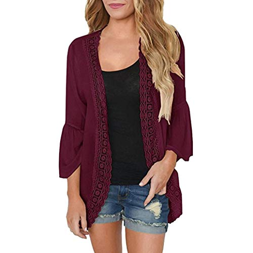 Toimoth Womens Casual Solid Long Sleeve Chiffon Cardigan Loose Kimono Lace Blouse Tops(Wine,S)