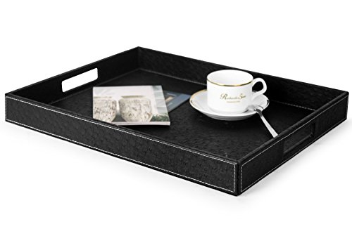 Ms.Box Ostrich PU Leather Rectangular Decorative Serving Tray, Black, 17.7 x 13.8 x 2 inches