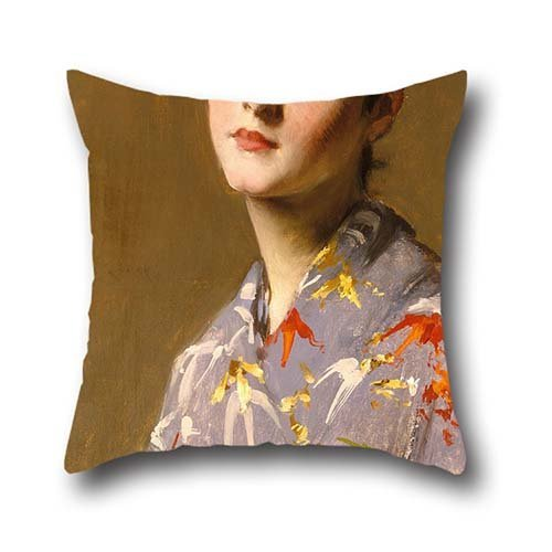 Cushion Covers Of Oil Painting William Merritt Chase - Girl In A Japanese Costume 18 X 18 Inches / 45 By 45 Cm,best Fit For Bar,dinning Room,kids Room,kids,bf,study Room Twice Sides