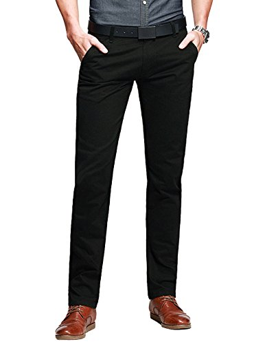 Match Mens Slim-Tapered Flat-Front Casual Pants(8110 Dark Gray,34W x ()