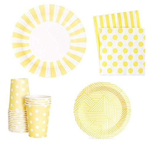 FAKKOS Design Yellow Party Supplies Baby Shower Bridal Gender Neutral Birthday All Occasion Tableware for 12 Guests Elegant Quality Large and Small Plates, Napkins and Cups