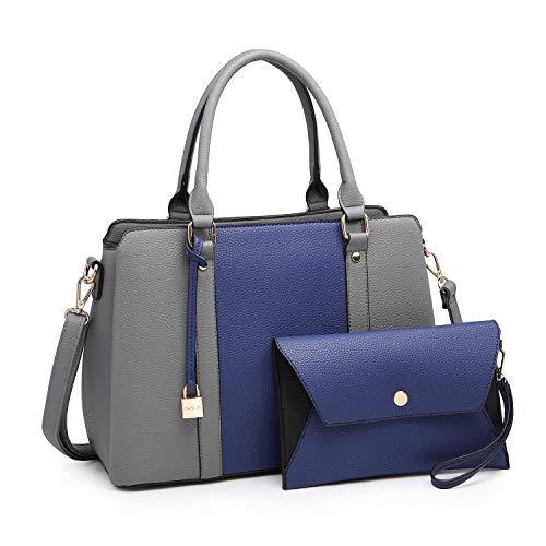 Women Handbags, Large Designer Lady Satchel Multi-Pockets Shoulder Bag Fashion Tote w/ Wallet Set (8011-BL/GY)