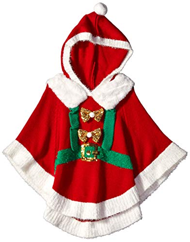 Blizzard Bay Girls' Big Santa Hooded Christmas Poncho, red Combo XL-16]()
