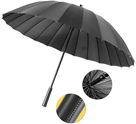 Windproof Umbrella, Semi-Automatic Open, 24 Umbrella Ribs, Light Weight, Ultra Strong Stick Umbrella with Leather Handle, Black, by me&home