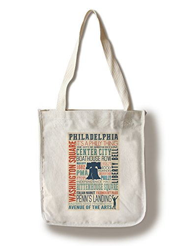 Philadelphia, PA - Typography (100% Cotton Tote Bag - Reusable, Gussets, Made in - Philadelphia Shopping In Pa