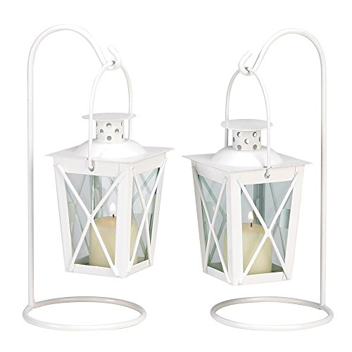 SSJSHOP Vintage Style Iron and Glass Candle Lanterns Holders Centerpiece Wedding Decorations White Set Of - Glasses Wine Bhs