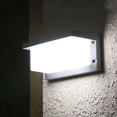 - 18W LED Wall Lighting Porch Lamp,Outdoor Waterproof Super Bright Night Light,Modern Flood Lights,AC85-220V Aluminum& Opal Acrylic Lens (White Light)