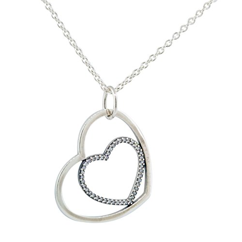 Pandora Women's Heart to Heart Necklace Clear Cubic Zirconia 90CM long