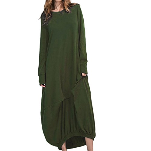FEITONG Womens Long Sleeve Loose Evening Party Beach Long Maxi Dress(M,Green) by FEITONG