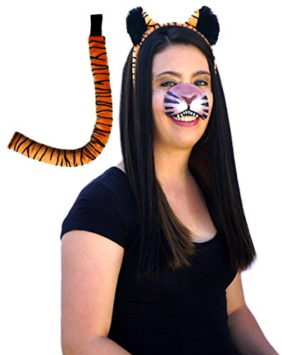 Tiger Costume Nose (Tiger Ears, Tail, Nose Costume Accessories Kit)