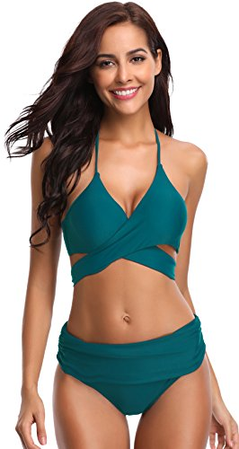 SHEKINI Women's Push-up Halter Bandage Ruched High Waisted Bottoms Bikini Swimsuits (Small, Deep Green)