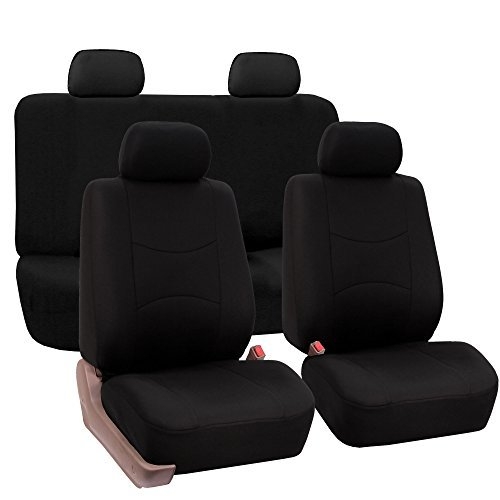 (FH Group Striking Striped Seat Covers Airbag & Split Ready w. Free Air Freshener, Solid Black Color- Fit Most Car, Truck, SUV, or Van)
