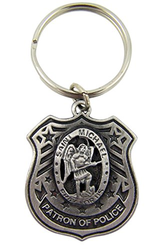 fine-pewter-patron-of-police-saint-michael-shield-shaped-medal-key-chain-1-1-2-inch