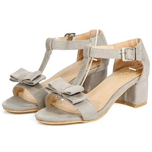 RAZAMAZA Mujer Moda Correa en t Tacon Ancho Sandalias Linto Bowknot Zapatos Gris