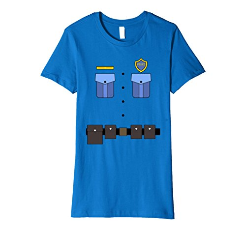 Womens Police Uniform Costume T-Shirt | Halloween Cop Shirt XL Royal Blue - Female Cop Uniform
