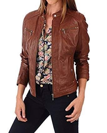 Noora Women S Pure Slim Fit Leather Jacket Amazon In Clothing