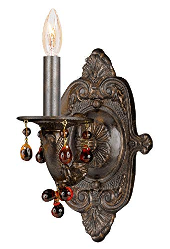 (Crystorama 5201-VB-AMBER Crystal Accents One Light Wall Sconce from Paris Market collection in Bronze/Darkfinish, 6.25 inches)