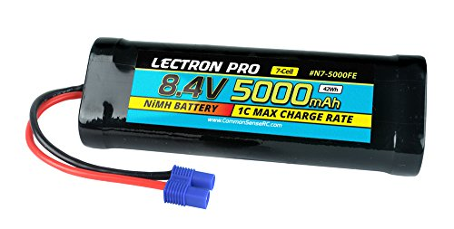 Common Sense RC Lectron Pro NiMH 8.4V 7-cell 5000mAh Flat Pack with EC3 Connector for 1/10 Scale Cars, Trucks, and - Cell 5 Flat