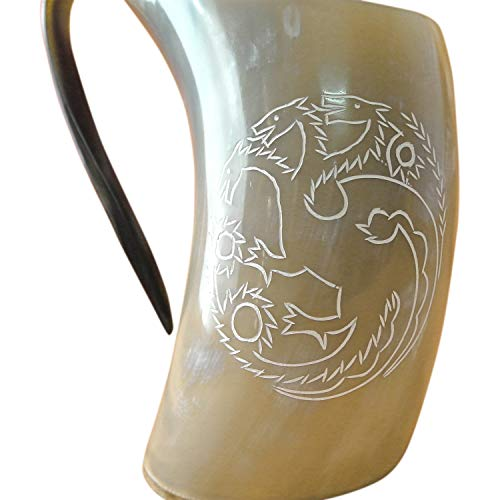 Mythrojan Three headed Dragon Viking drinking horn tankard with Medieval Buckle leather strap Wine Beer Mead 750 ML - Polished Finish -