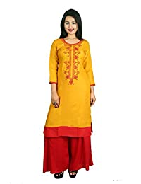 Yellow Embroidered 3/4 Sleeve Cotton Women's Kurta and Palazzo Set