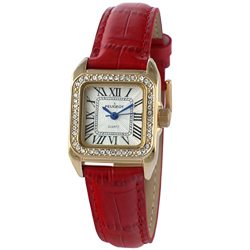 Peugeot Womens 14K Gold Plated Square Tank Petite Small Red Leather Band Luxury Dress Watch 3052RD (14k Gold Watch Leather Strap)