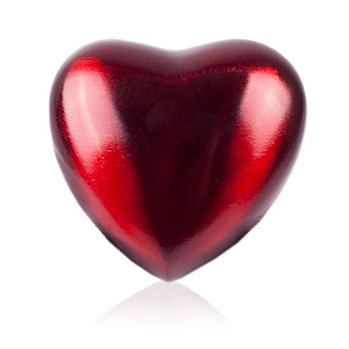 Heart Bronze Memorial Keepsake Urns - Extra Small - Holds Up to 3 Cubic Inches of Ashes - Crimson Red Cremation Urn for Ashes - Engraving Sold Separately