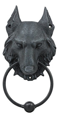 Ebros Full Moon Gothic Chained Wolf Gargoyle Door Knocker Figurine 8.25