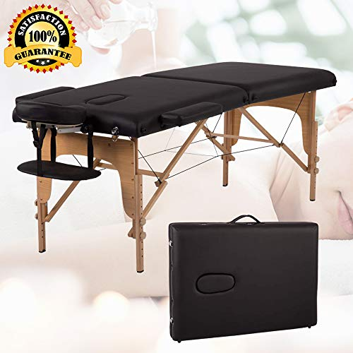 84 Massage Table Portable Spa Bed Fold Massage Bed Black Height Adjustable PU Spa Table with Free Carry Case&Face Cradle&Armrest Wooden Frame Beauty Therapy Facial Tattoo Salon Table, Holds 450LBS
