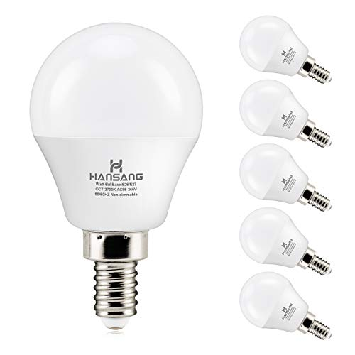 6 watt (60w Equivalent) Hansang LED Bulbs,E12 Small Base Candelabra Round Light Bulb,600 Lumen,Warm White 2700K,A15 LED Bulb Globe Shape,Non dimmable,G45 Ceiling Fan Light Bulbs (6 Pack)