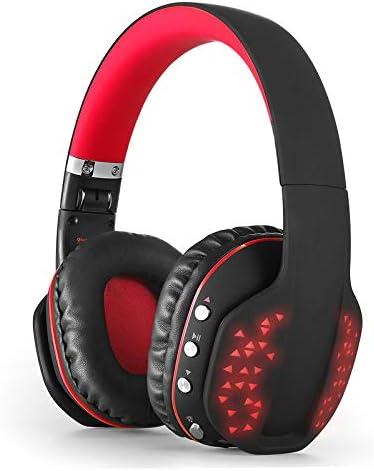PCのラップトップのためのLEDライトのBluetoothヘッドバンドヘッドフォン内蔵マイク音楽イヤホン付き折り畳み式ワイヤレスゲーミングヘッドセット,赤