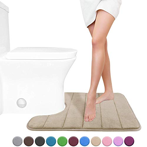 Yimobra Memory Foam Toilet Bath Mat U-Shaped, Soft and Comfortable, Maximum Absorbent, Non-Slip, Thick, Machine Wash and Easier to Dry for Bathroom Commode Contour Rug, 24 X 20 Inches, Camel (Wash Machine Rugs)