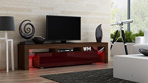 TV Stand MILANO 200 Walnut Line / Modern LED TV Cabinet / Living Room Furniture / Tv Cabinet fit for up to 90-inch TV screens / High Capacity Tv Console for Modern Living Room (Walnut & Burgundy)